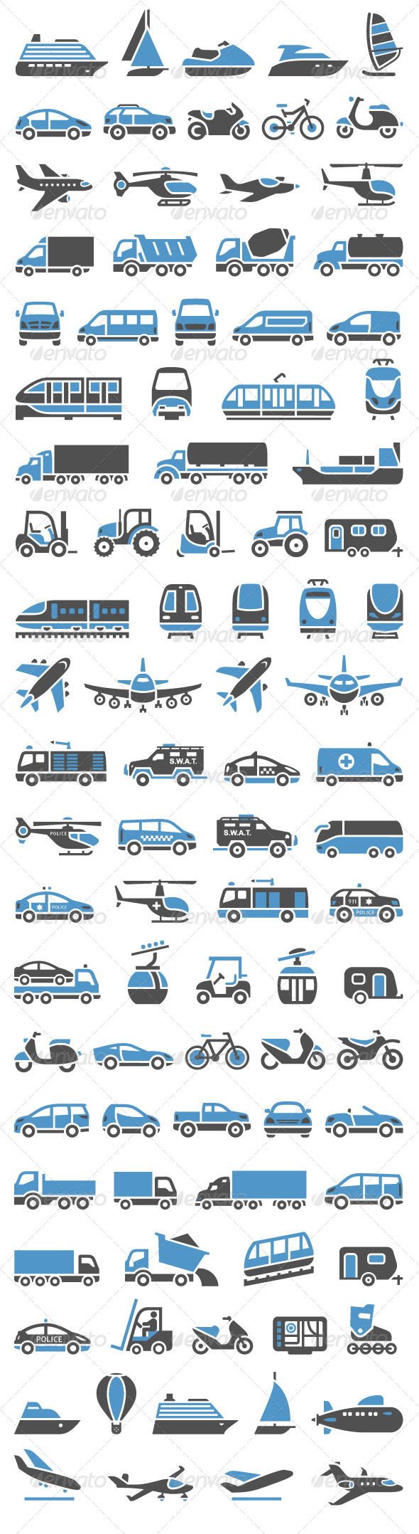 93 Transport Icons Set - Man-made Objects Objects
