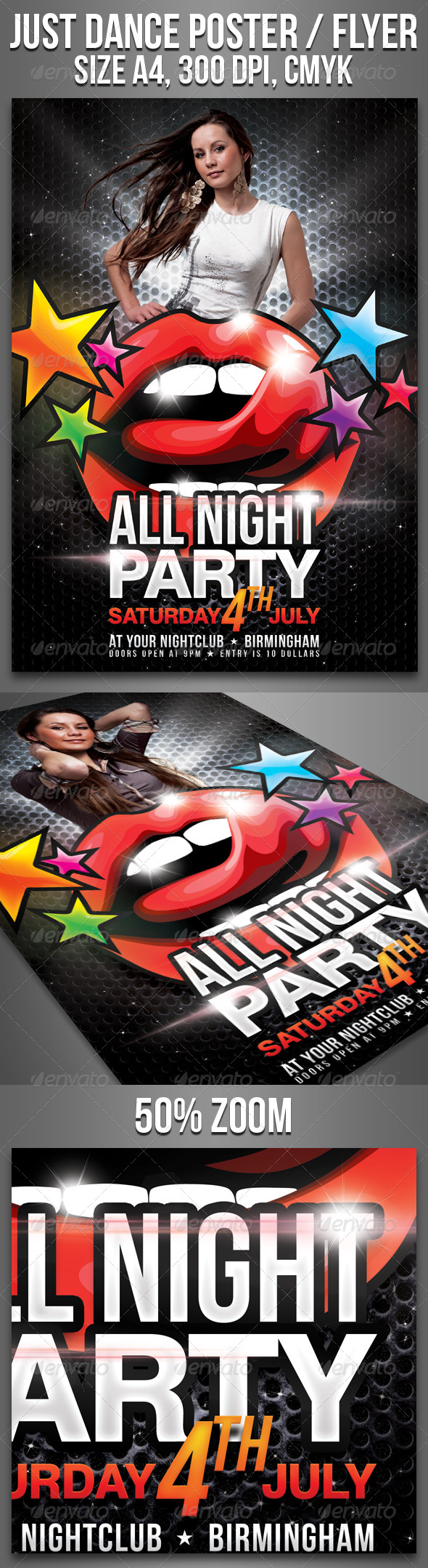 A4 All Night Party Club Flyer - Clubs & Parties Events