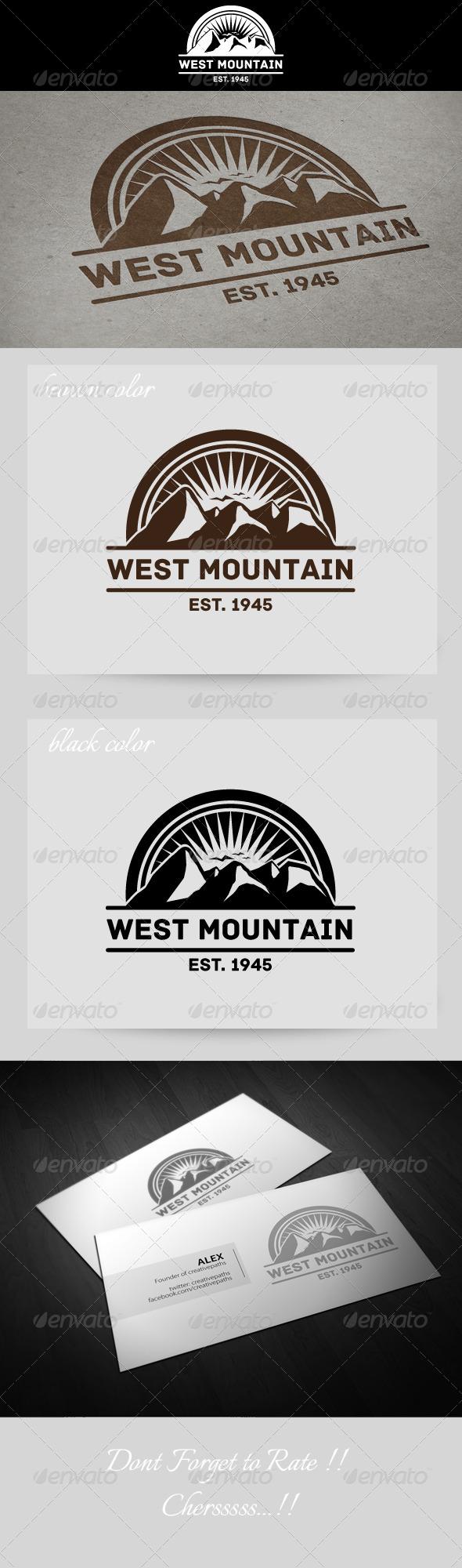 West Mountain Vintage Logo - Nature Logo Templates