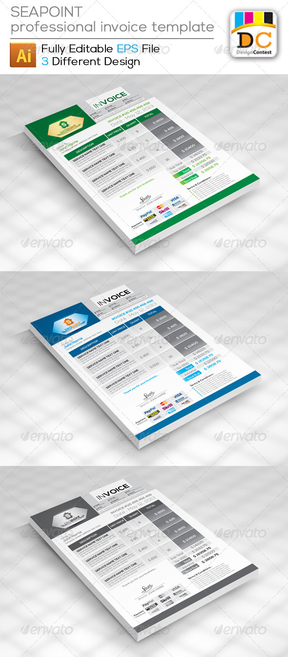 Receipt Acknowledgement Sample Seapoint Corporate Creative Invoices By Contestdesign  Graphicriver Wifi Receipt Printer Excel with Free Invoice Templete Excel Seapoint Corporate Creative Invoices  Proposals  Invoices Stationery How To Organize Tax Receipts Pdf