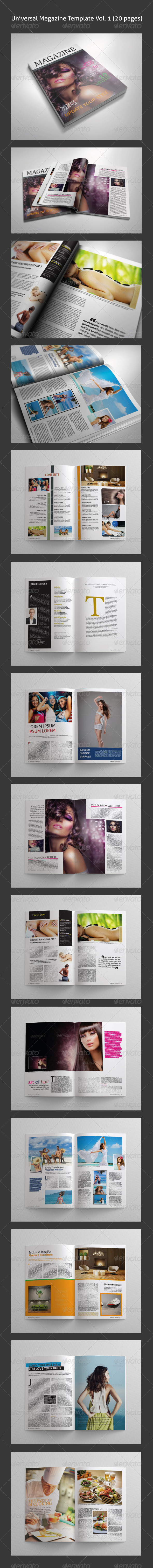 Universal Magazine template Vol. 01 (20 pages) - Magazines Print Templates