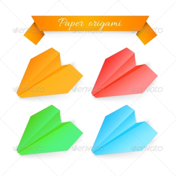 Paper Airplane Origami. Vector Illustration - Abstract Conceptual