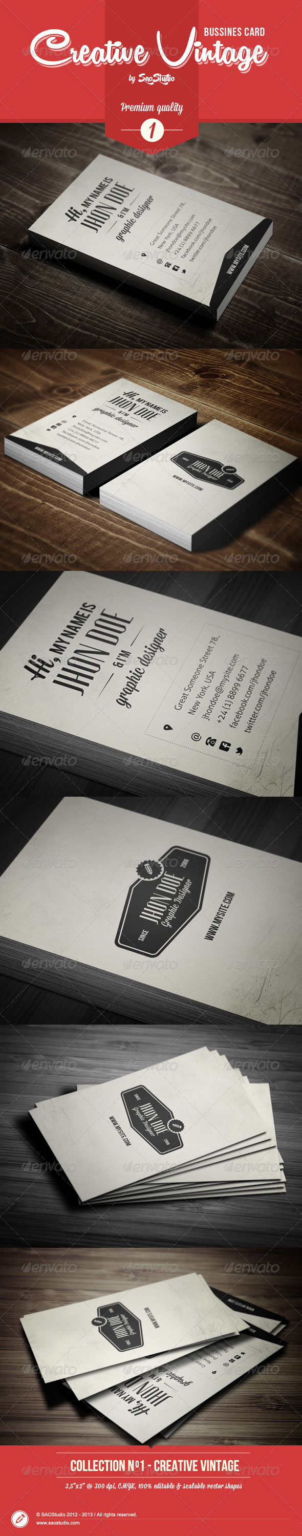 Premium Creative Vintage Bussines Card - Retro/Vintage Business Cards