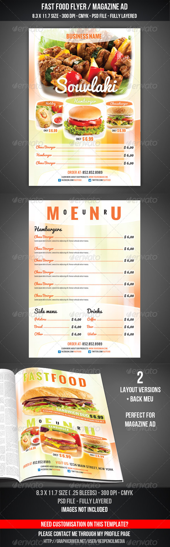 Fast Food Flyer / Magazine AD - Flyers Print Templates