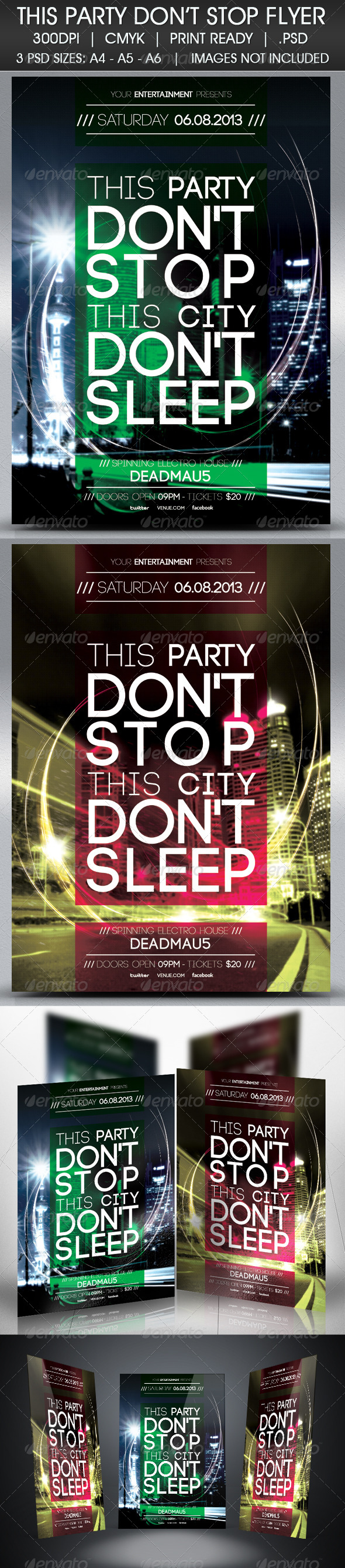 Party Don't Stop Flyer - Events Flyers