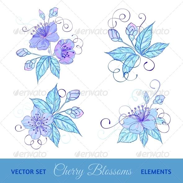 Set of Cherry Flowers - Flowers & Plants Nature