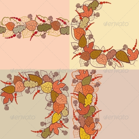 Autumn Vector Background with Leaves and Berries - Seasons Nature
