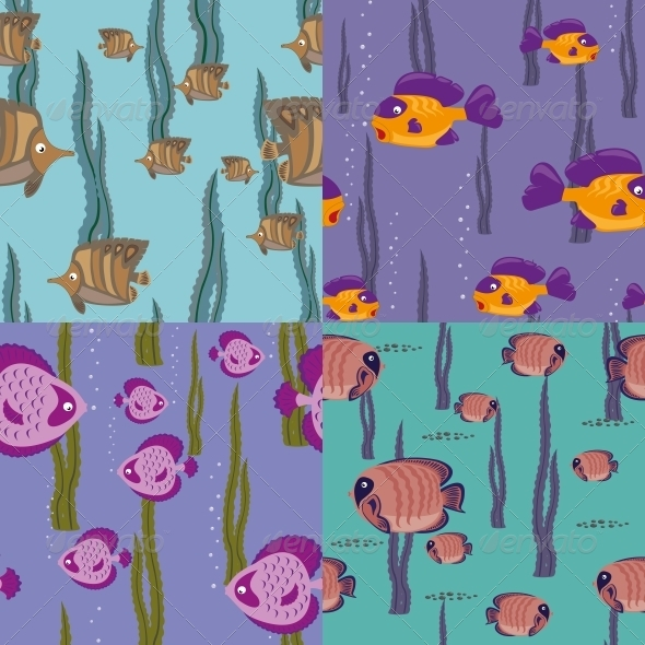 Seamless Pattern Pink Fish - Animals Characters