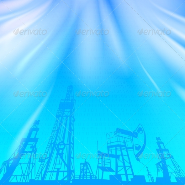 Oil Rig and Pump over Blue Luminous Ray - Abstract Conceptual