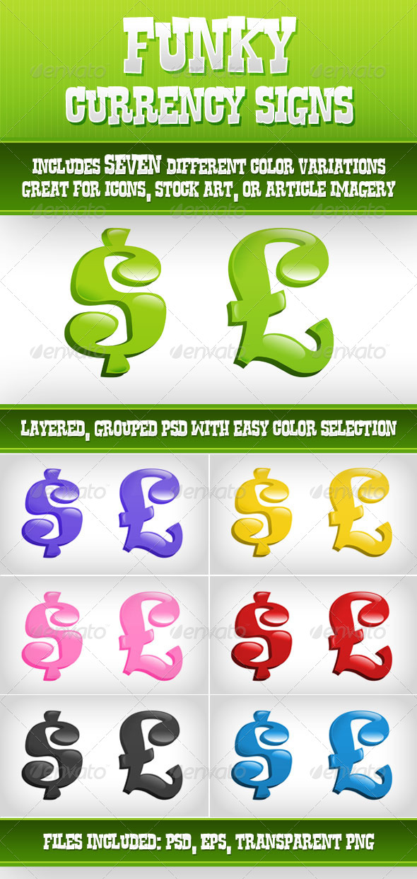 Funky Currency Symbols - Business Illustrations