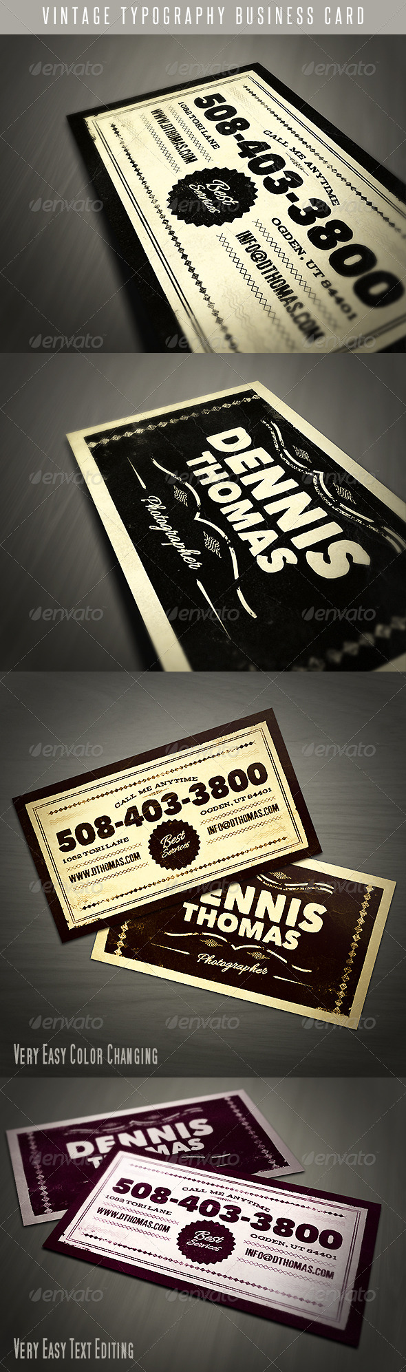 Vintage Typography Business Card - Retro/Vintage Business Cards
