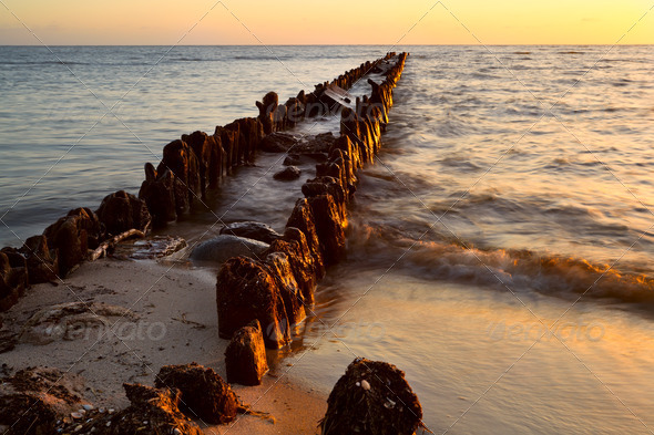 old breakwater in North sea at sunset - Stock Photo - Images