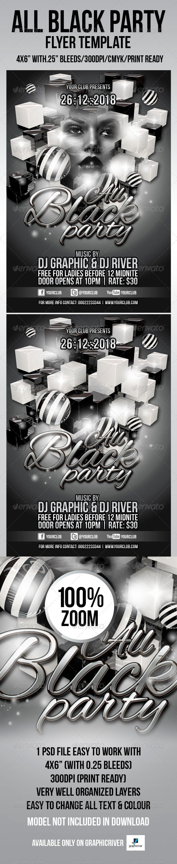 All Black Party Flyer Template - Events Flyers