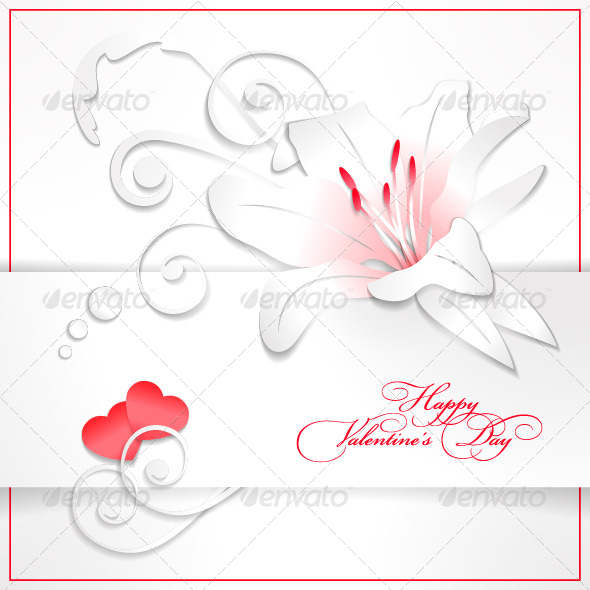 Floral Valentine's Day White Background with Heart - Valentines Seasons/Holidays
