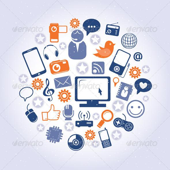 Social Network Pattern - Web Elements Vectors