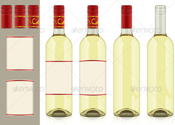 Four Wine Bottles on White Background - Food Objects