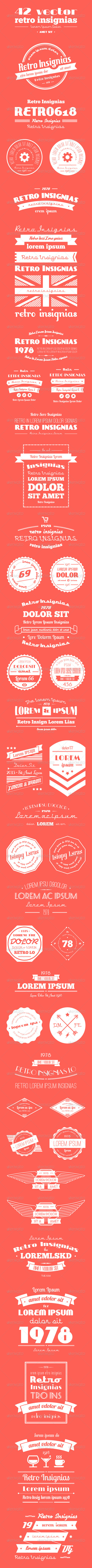 42 Vector Retro Insignias. Banners and Badges - Miscellaneous Conceptual