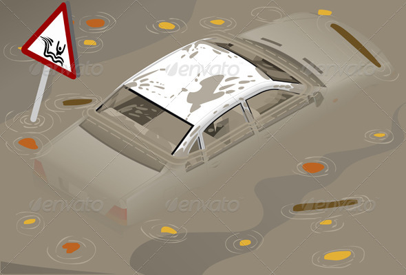 Isometric White Car Flooden in Rear View - Objects Vectors