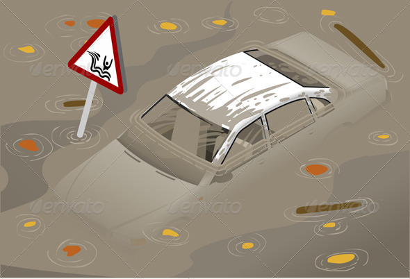 Isometric White Car Flooden in Front View - Objects Vectors