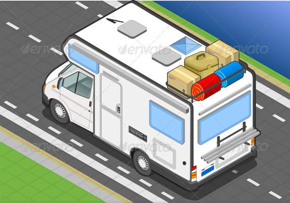 Isometric Camper on the Way in Rear View - Objects Vectors
