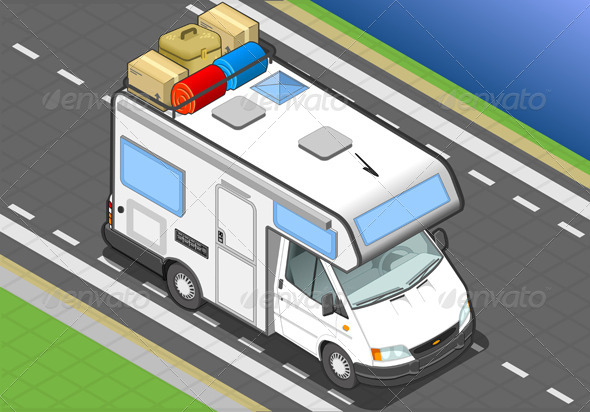 Isometric Camper on the Way in Front View - Objects Vectors