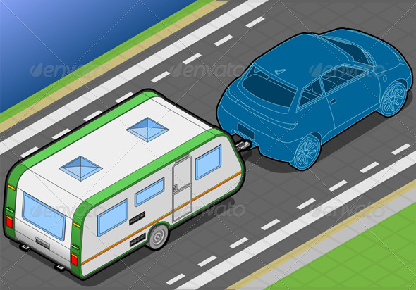 Isometric Roulotte  on the Way in Rear View - Objects Vectors