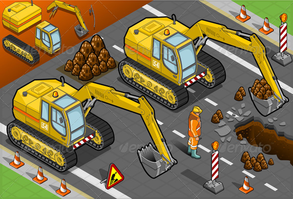 Isometric Yellow Excavator in Front View - Objects Vectors