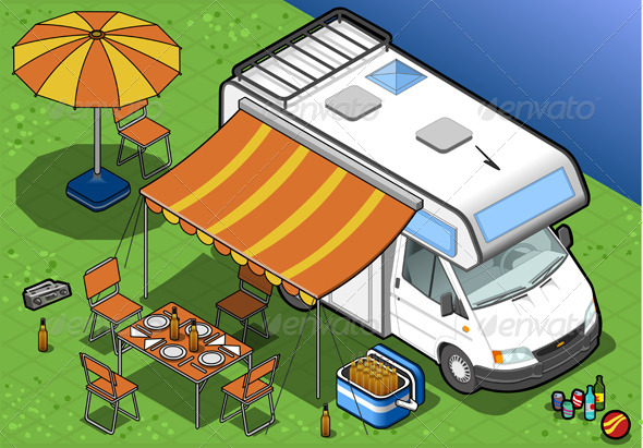 Isometric Camper in Camping in Front View - Objects Vectors