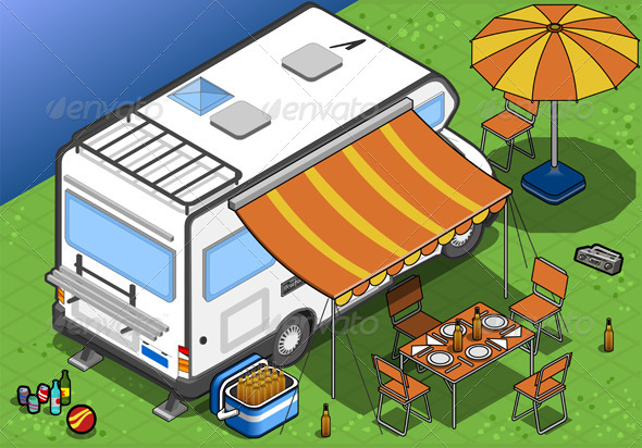 Isometric Camper in Camping in Rear View - Objects Vectors