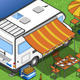 Isometric Camper in Camping in Rear View - GraphicRiver Item for Sale