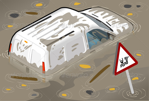 Isometric White Van Flooded in Rear View - Objects Vectors