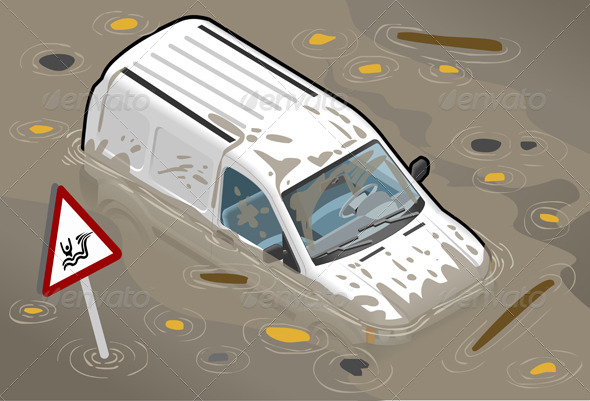Isometric White Van Flooded in Front View - Objects Vectors