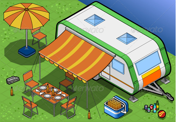 Isometric Roulotte in Camping in Front View - Objects Vectors