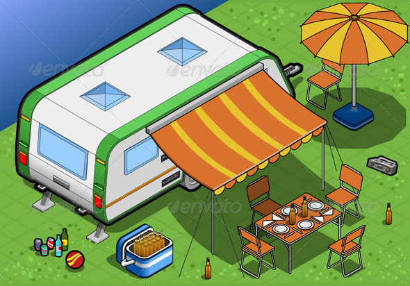 Isometric Roulotte in Camping in Rear View - Objects Vectors