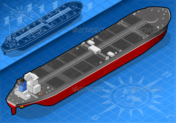 Isometric Oil Tanker in Rear View - Objects Vectors