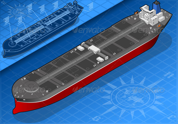 Isometric Oil Tanker in Front View - Objects Vectors