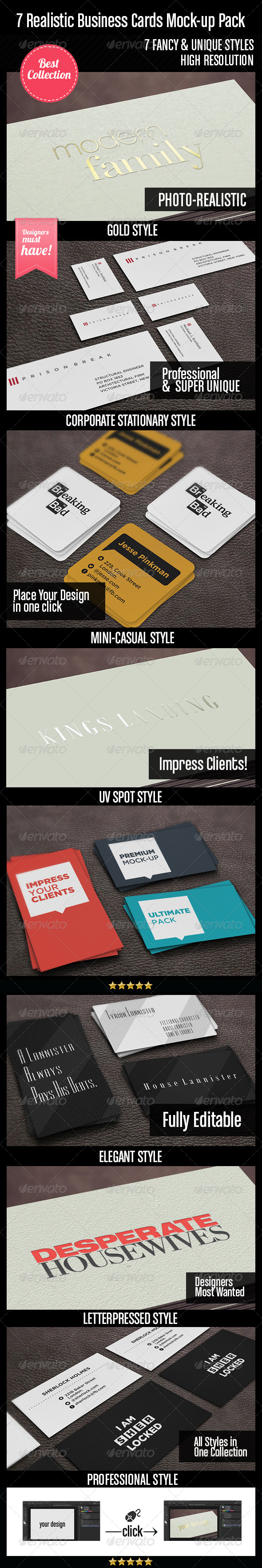 7 Realistic Business Cards Mock-up Pack - Business Cards Print