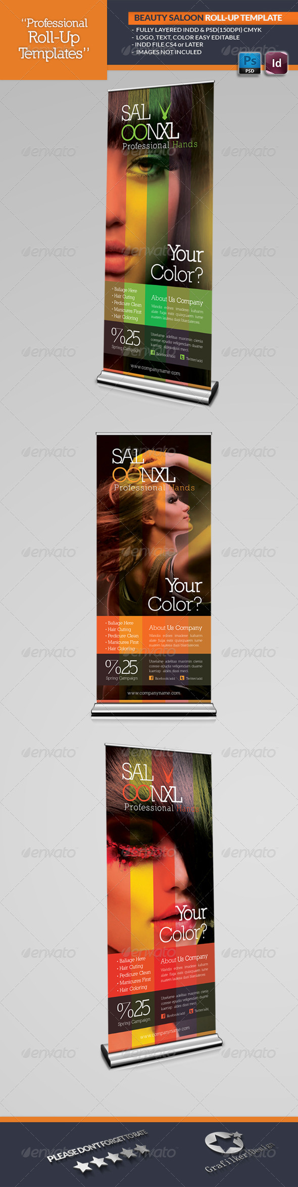 Beauty Salon Roll-Up Template - Signage Print Templates