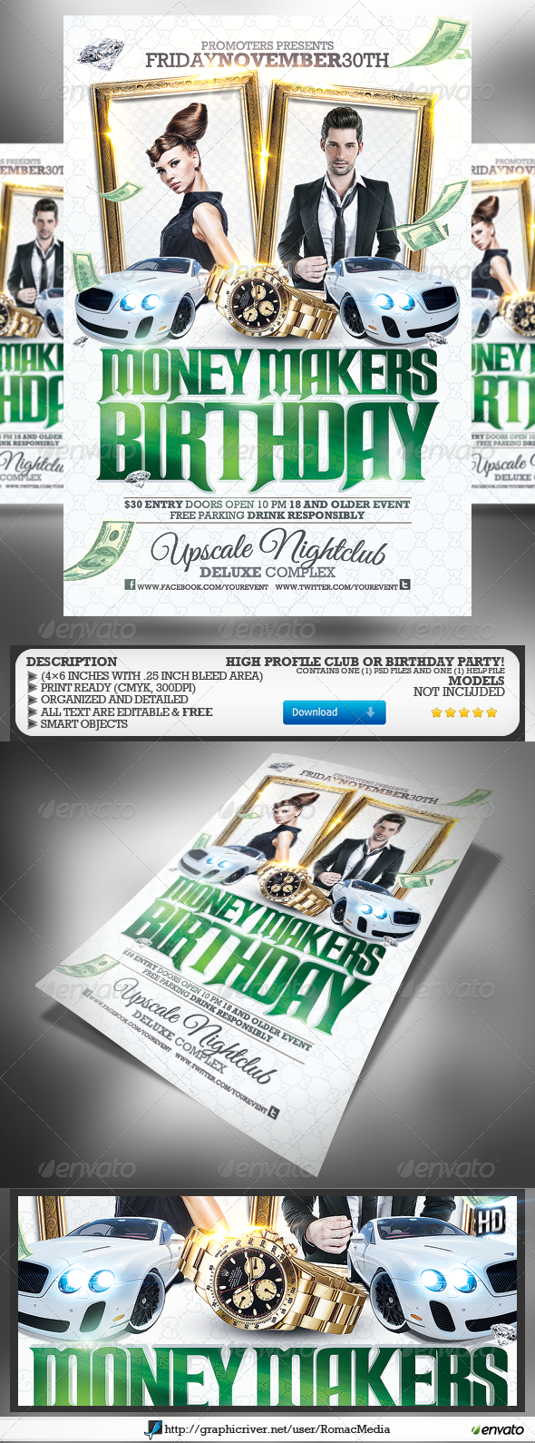 Club Sessions l Money Makers Party Flyer - Clubs & Parties Events