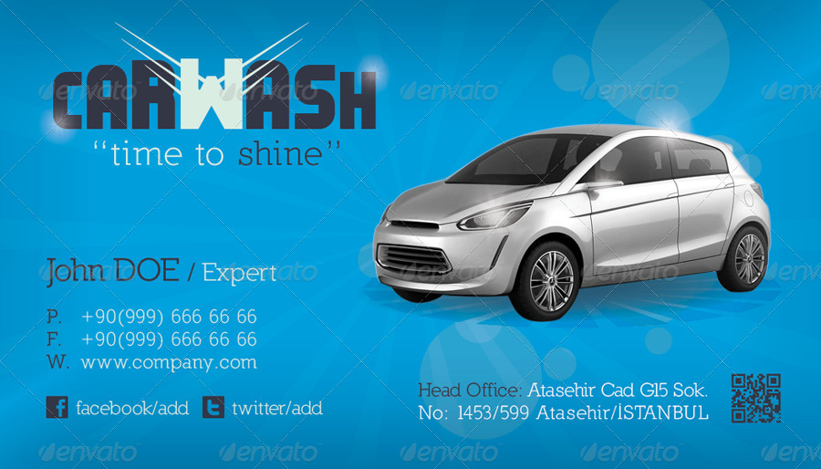Car wash business card template by grafilker graphicriver for Car wash business cards