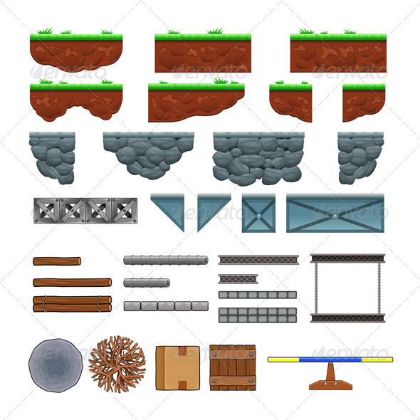 Platforms and Items for Games. - Tilesets Game Assets