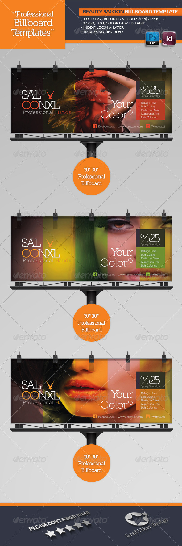 Beauty Saloon Billboard Template - Signage Print Templates