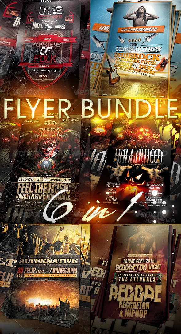 6in1 Flyer/Poster Bundle - Events Flyers