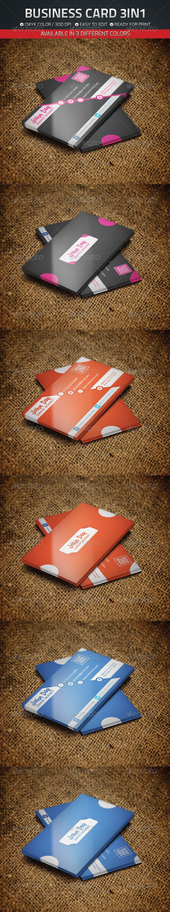Business Card 3 in 1 - Creative Business Cards