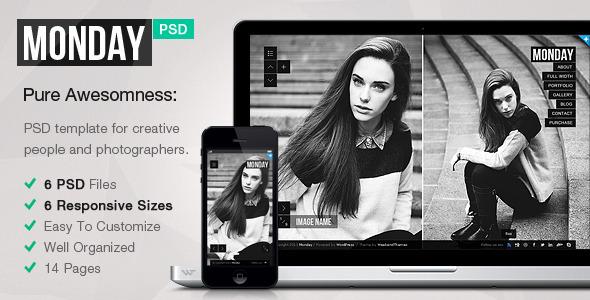 MONDAY — Responsive PSD Template - Photography Creative