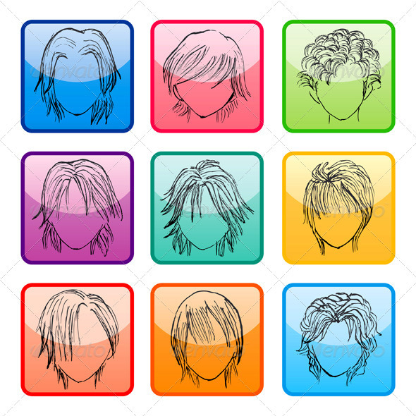 Hairstyle Silhouettes Template - Services Commercial / Shopping