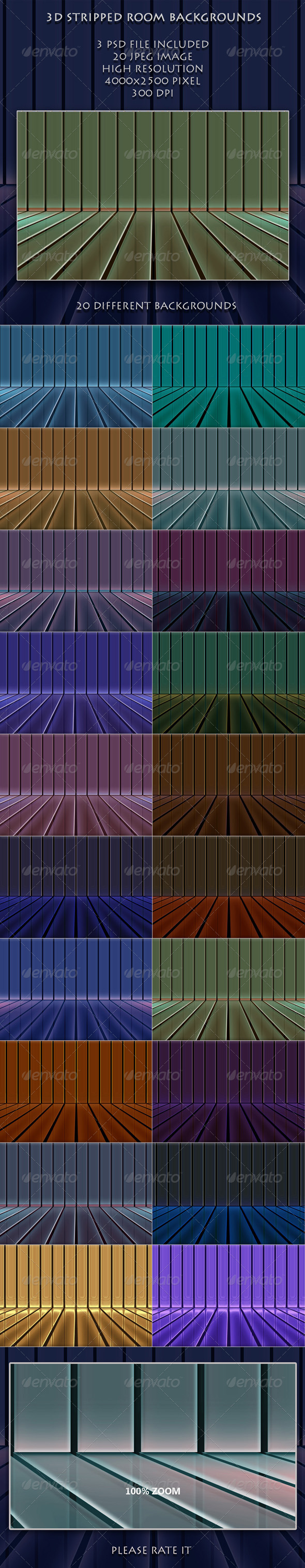 3D Striped Room Backgrounds - 3D Backgrounds