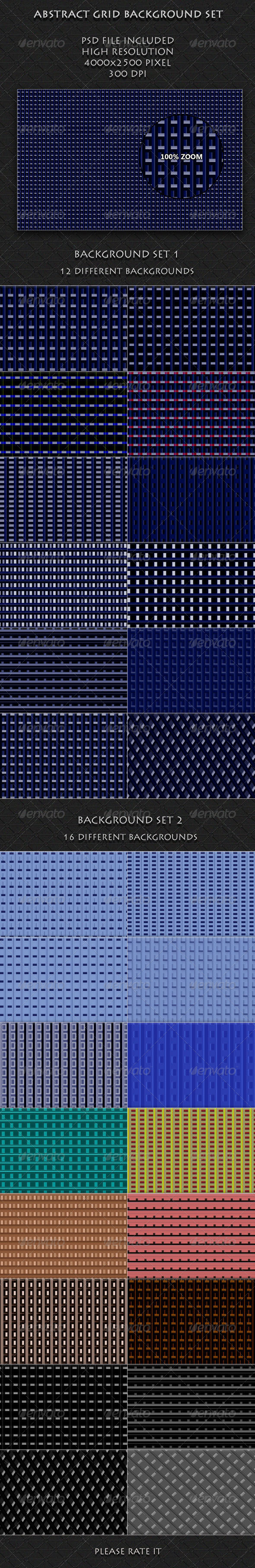 Abstract Grid Background Set - Patterns Backgrounds