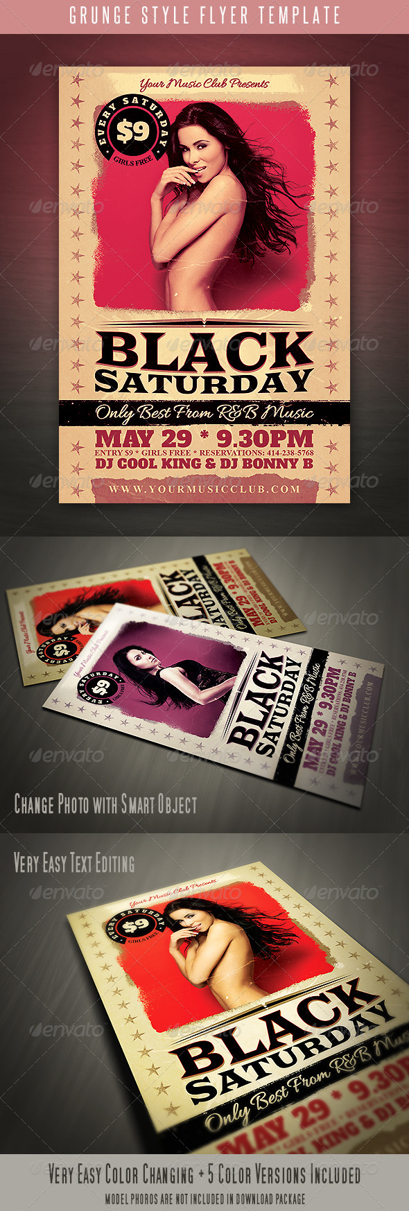 Grunge Style Flyer - Clubs & Parties Events