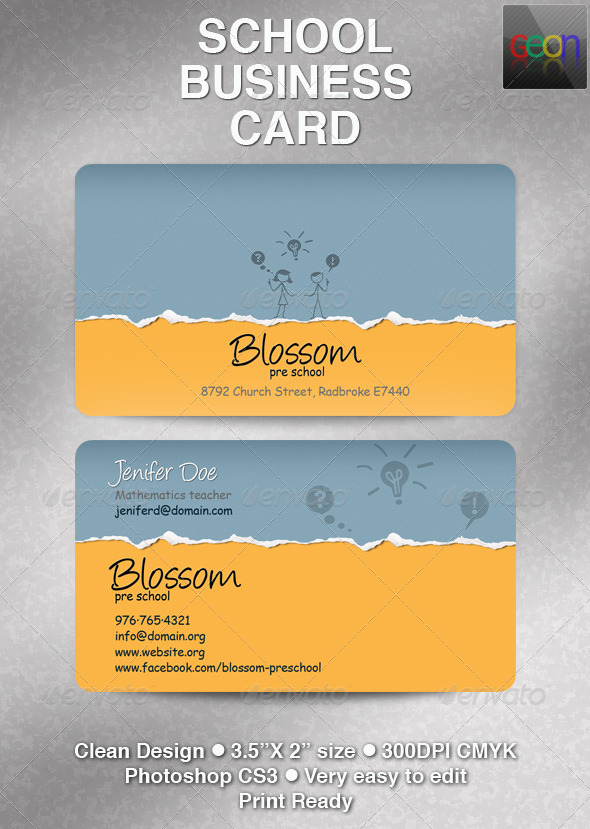 School Business Card, Excellent for Teachers by Geon | GraphicRiver